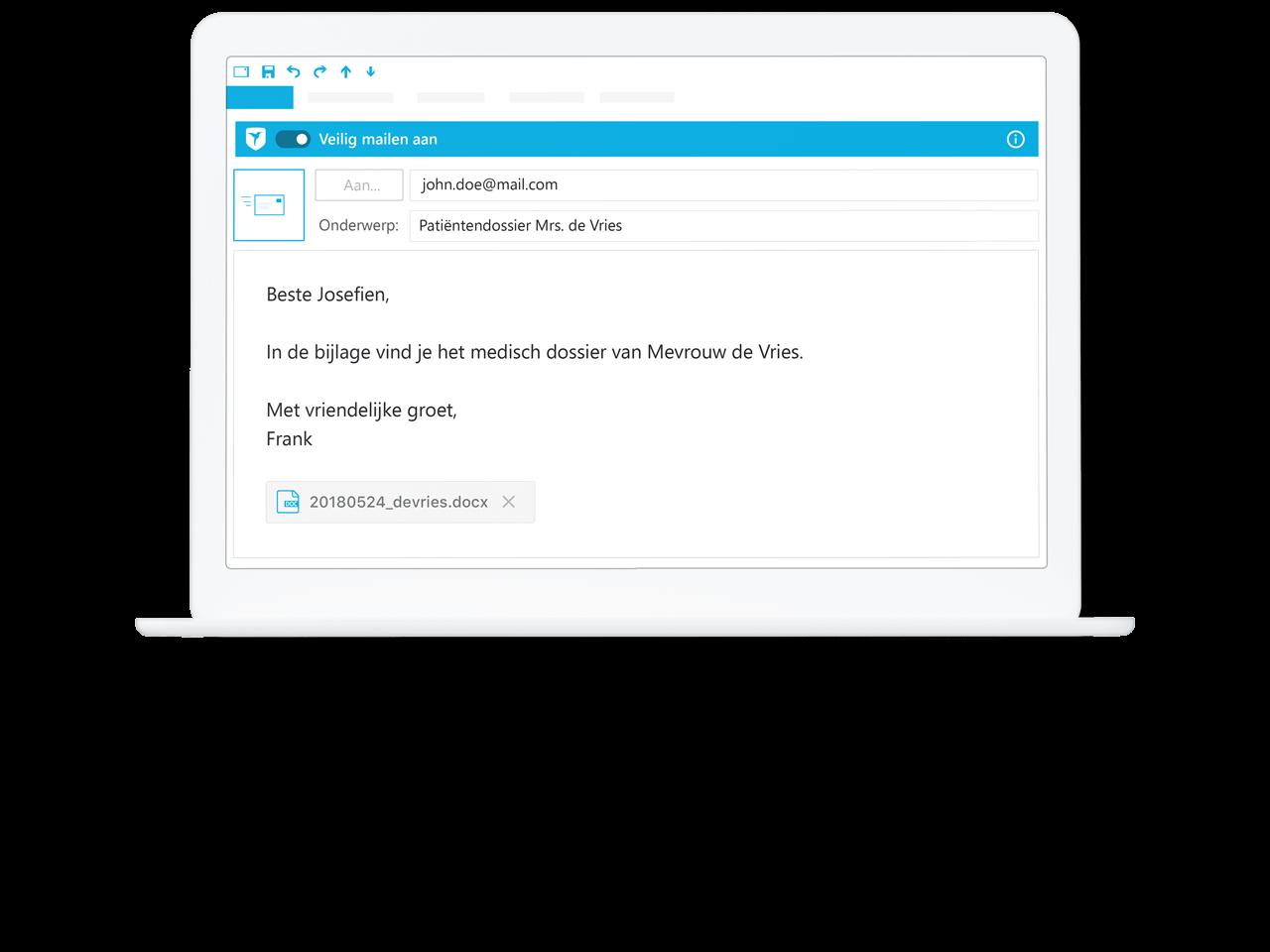 Voorbeeld van veilig mailen in bekend email programma