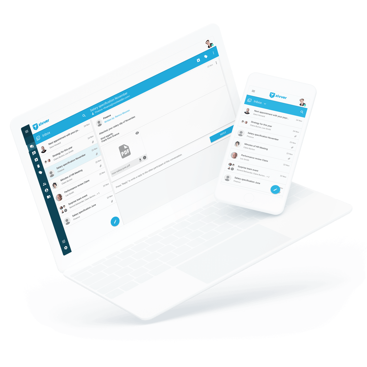 Demo of secure email with ZIVVER on various devices