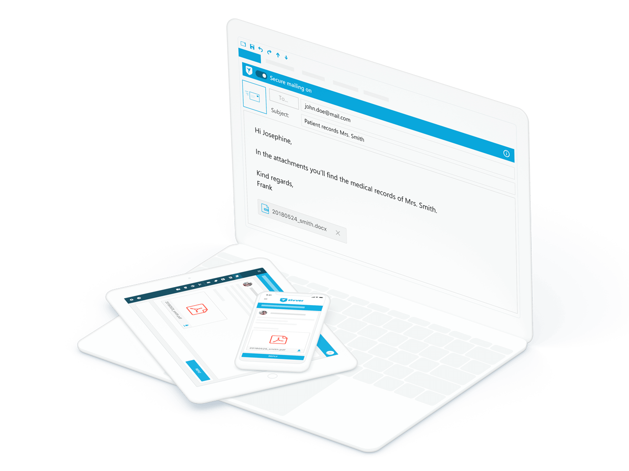 You simply send large files from your familiar email programme, such as Outlook