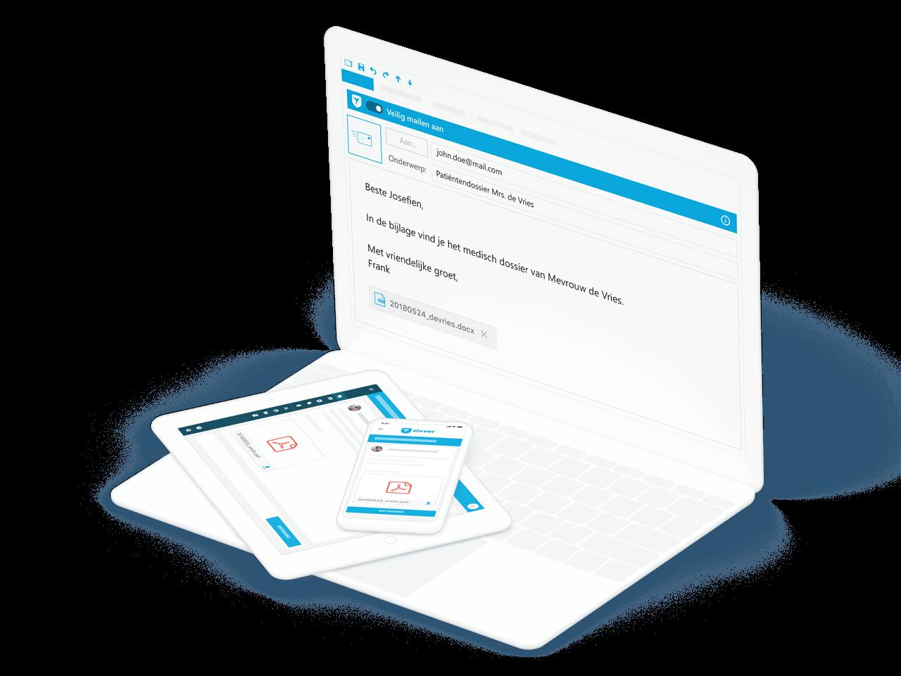 Je stuurt grote bestanden gewoon vanuit je vertrouwde e-mailomgeving, zoals Outlook.